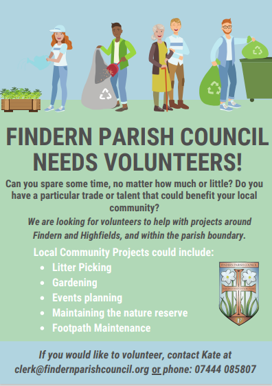 Poster calling for Volunteers to help Findern Parish Council