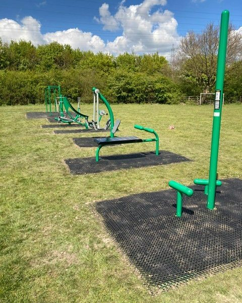 Picture shows Outdoor Gym equipment at King George V Playing Field, showing all items available